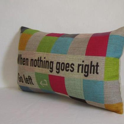 Colorful Wording Linen Pillow Cushi..