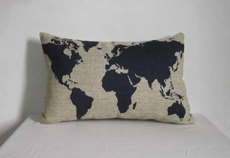 1 Linen Pillow Cover Decorative Throw Pillow Cushion Cover Blue Map