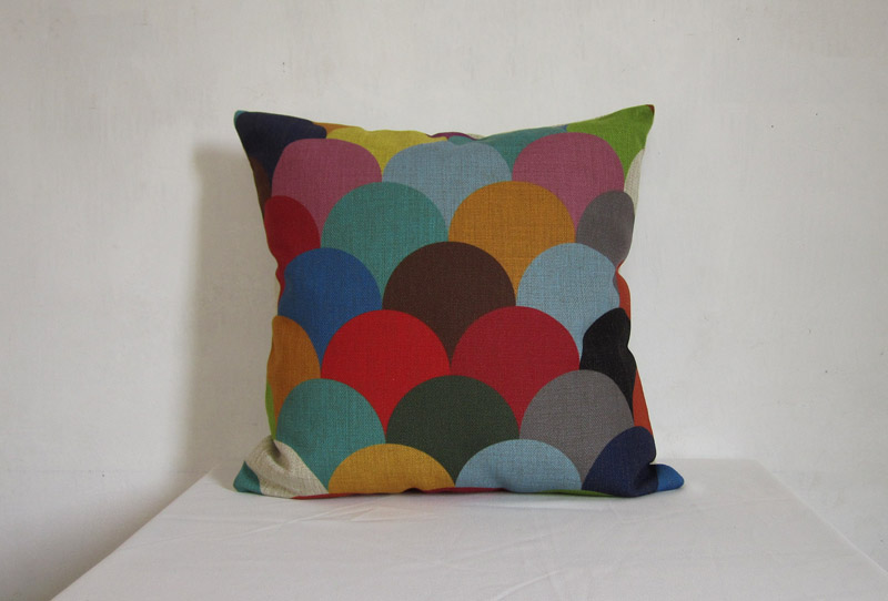 1 Piece of Colorful Splice Geometry Decorative Linen Pillow Cushion Cover 18""