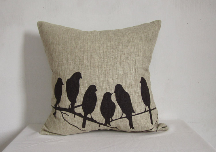 1 Handmade Sitting Birds On The Branches Linen Pillow Cushion Cover Decorative Pillowcase 45 x45cm
