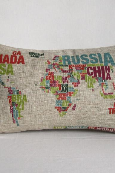 Wolrd Map Colorful Map Decorative Linen Pillowcase Sofa Cushion Cover 30x50cm