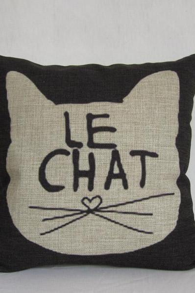 The Cat LE CHAT Animal Black Pillow Cushion Cover Decorative Cushion 45x45cm