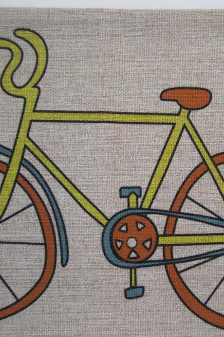 Bike Linen Pillow Cover Decorative Coloful Cushion Cover 30x50cm