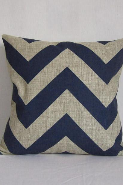 Decorative Linen Pillow Cushion Cover Blue Zipzag Cover strip Housewares 18 by 18 inches