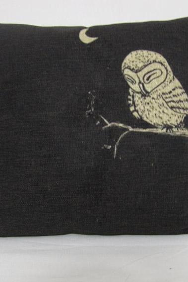 1 Owl Black Cotton Linen Pillow Cushion Covers 45x45cm