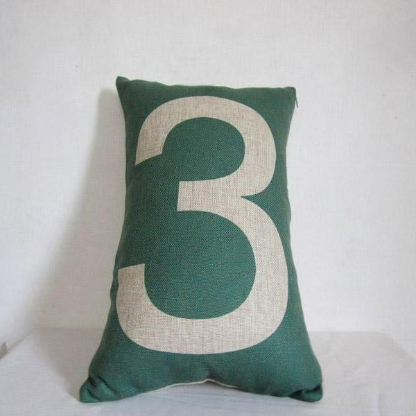 Word print Pillowcase Linen cotton Pillow Number 3 throw pillow cover cushion cover/home decor/houseware 30x50cm