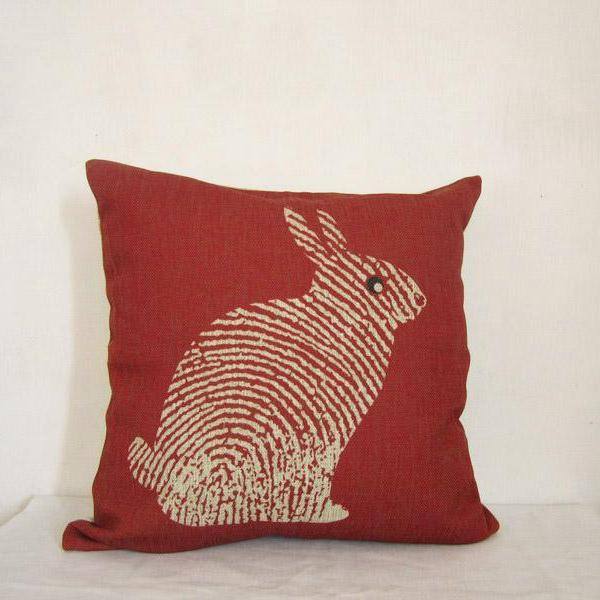 Linen Pillow Cover Decorative Throw Pillow Cushion Cover  Red Rabit Animal Pillowcase 18 by 18 inche