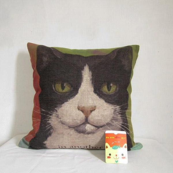 Decorative Linen Pillow Cover Cat Cushion Pillowcase Animal Cushion 18""