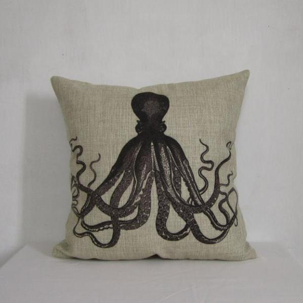 Linen pillow cover decorative pillow cover Black octopus cushion cover home decor Pillowcase 18 by 18 inches