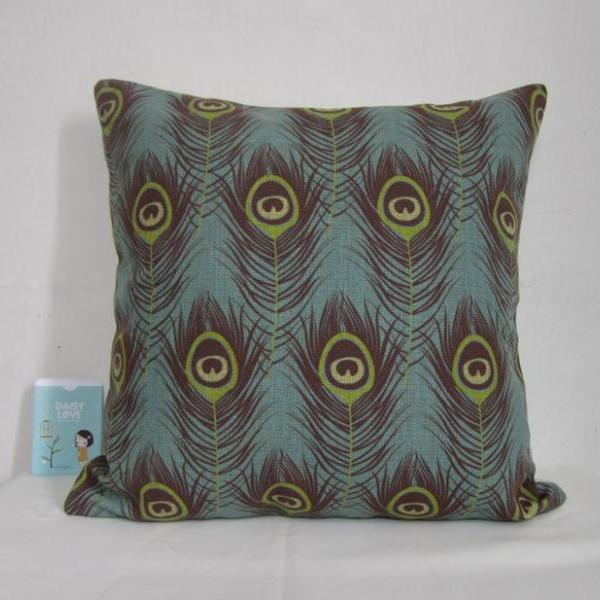 1 Piece of Decorative Linen Pillow Cushion Cover Peacock Feather Cushion Cover 18""